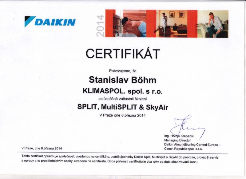 Certifikát montáž a servis klimatizace Daikin